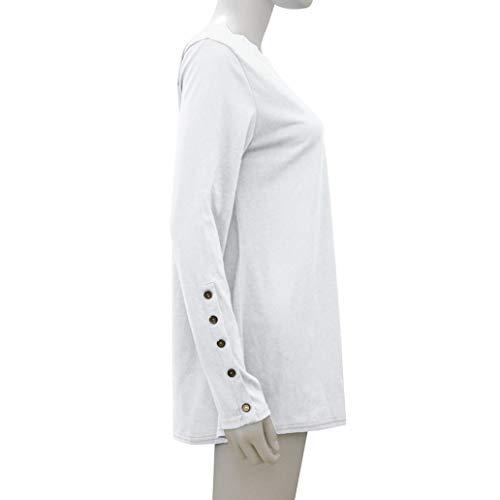 Bouton Casual shirt T Longues Manches Femmes Blouses Solides Mode Manteau Hauts Blanc Col Rond Zahuihuim Hiver 4wxgqEdwAP