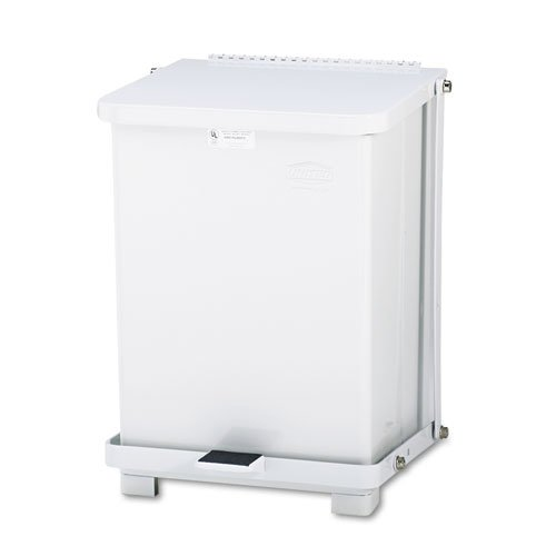 Rubbermaid Commercial ST7EWHPL Defenders Biohazard Step Can, Square, Steel, 7gal, White - Defenders Step