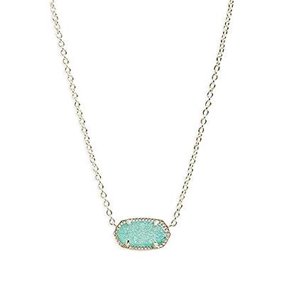 Hot Kendra Scott Signature Elisa Teal Drusy Gold Pendant Necklace