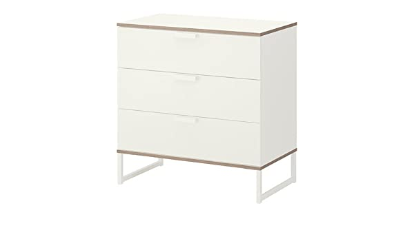 IKEA TRYSIL - Cómoda de 3 cajones, blanco, gris claro - 75x77 cm ...