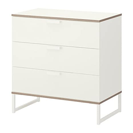 IKEA TRYSIL - Cómoda de 3 cajones, blanco, gris claro ...