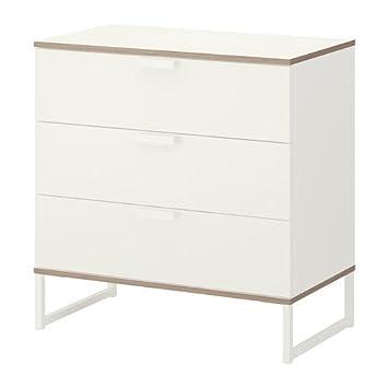 Kommode schmal ikea  IKEA TRYSIL – Kommode mit 3 Schubladen, weiß, Hellgrau – 75 x 77 ...