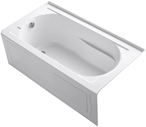 Kohler K-1357-GLAW-0 Devonshire Three-Wall Alcove Bath Tub with Integral Apron, Left-Hand Drain and Bask Heated Surface, 60-Inch X 32-Inch, (Kohler K-1357 Devonshire Fixtures)