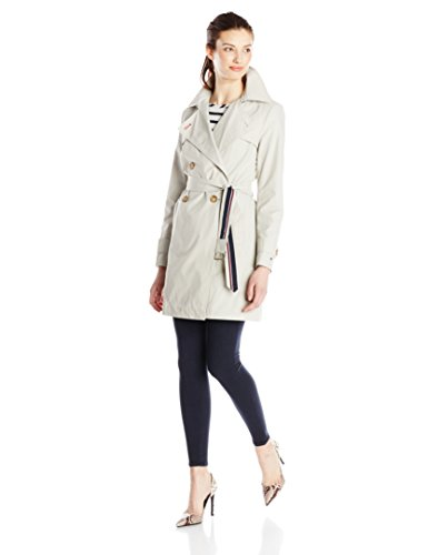 Tommy Hilfiger Women's Double Breasted Trench Coat with Striped Belt, Sand, Large Breasted Hooded Trench Coat