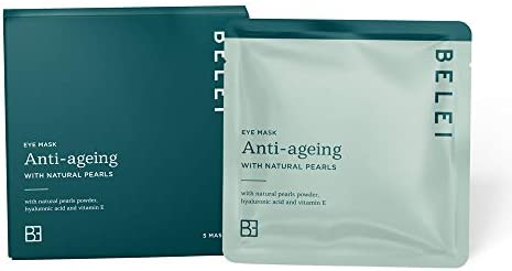 Amazon Brand - Belei - Anti-Ageing Eye Mask with Natural Pearls, Pack of 5