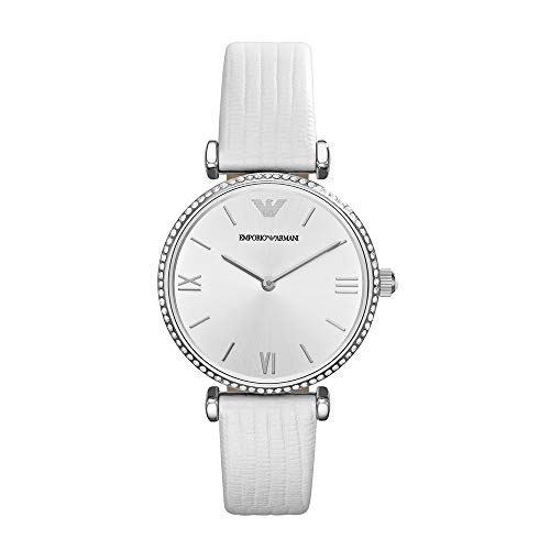 Emporio Armani Women's Quartz Stainless Steel and Leather Watch, Color:White (Model: AR1680)