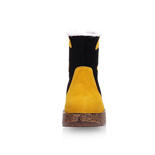 AmoonyFashion Womens Mixed Material Frosted Round Closed Toe Low-Top Kitten-Heels Boots Yellow wu9c41ltb