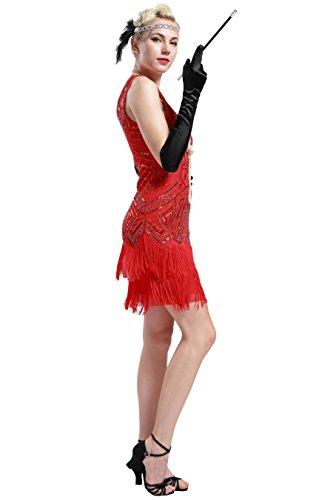 Vestito Abito Anni Sera Senza Vestito Dress Babeyond da Donna Gatsby Flapper Gatsby Paillette Vestito Maniche Rosso 1920s 20 Dress Impreziosito 1920s Frange Donne AY7YXw4xq