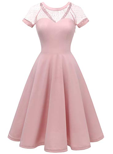 (LVNES IV1801 Women's 1950s Retro Illusion Cocktail Party Swing Dress Sheer Mesh A-line Prom Dress Blush XL)