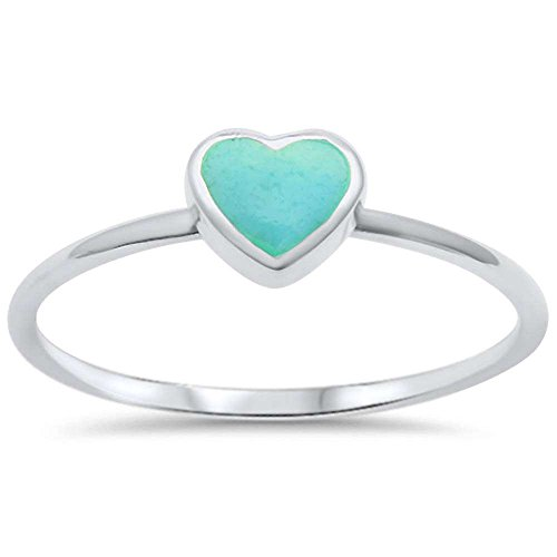 Sterling Silver Heart Turquoise Ring Sizes 8