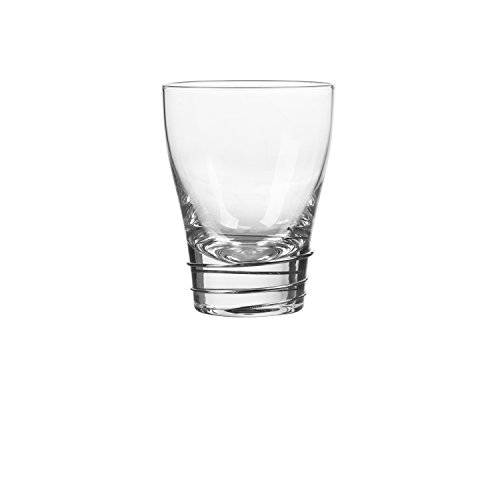 (Qualia Glass Helix Double Old Fashion, Silver/Clear, 4 Piece )