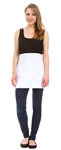Leisureland Adjustable Pocket Kitchen Apron for Commercial, Restaurant, and Home (Utility (Waist), Chef White) - White Bias Apron