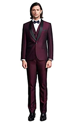 Men's One Button Shawl Lapel Suits 3 Pieces Wedding Suits for Men Groom Tuxedos