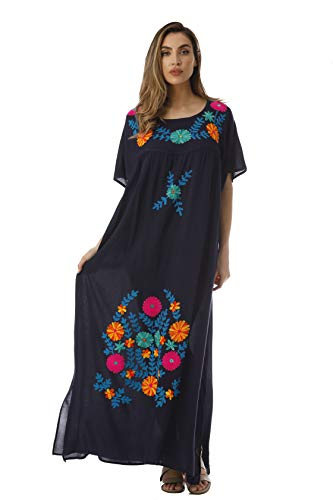 - Riviera Sun Long Embroidered Dresses for Women 21861-NVY-3X Navy
