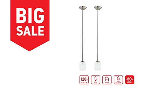 IN HOME 1-Light Mini Pendant MP38, Brushed Nickel Finish with Satin Etched Glass Shade (2 Pack), UL Listed (Brushed Nickel Pendant Mini)