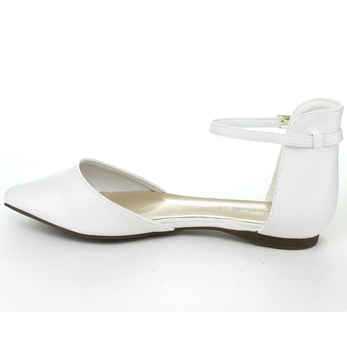 Womens White D'Orsay Toe Leather Faux Flats Breckelle's Pointed FdBqz0tW