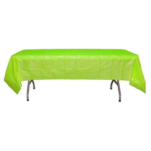 12-Pack Premium Plastic Tablecloth 54in. x 108in. Rectangle Table Cover - Lime Green