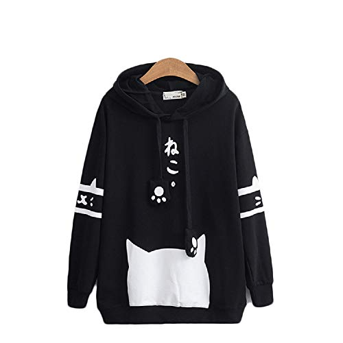 CORIRESHA Japanese School Girl Cute Cat Ear Hooded Sweatshirt ()