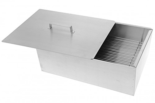 Mustang Deluxe Smoker Box | Polished Stainless Steel Smoker Box | Cabinet | Small | 45 x 31 x 15 cm