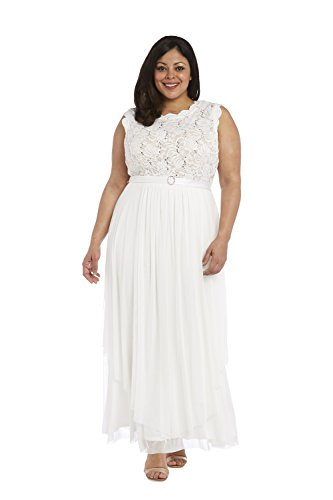 R & M Richards Sequined Lace Chiffon Gown (16w, ivtp)