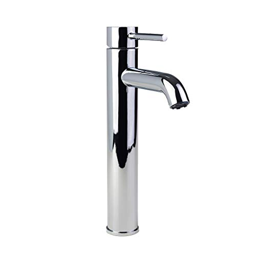 Fontaine by Italia 81H14-CHR Single Hole Single-Handle Modern Contemporary Euro Vessel Bathroom Sink Filler Faucet Water Tap in Chrome ()