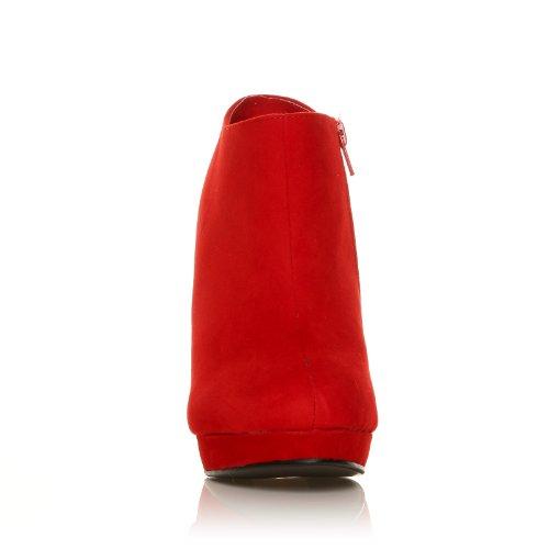 H20 - Bottines à talons aiguilles - Plateforme - Rouge - Effet daim