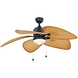 Fanimation Studio Collection LP8072LAZ Eagle Ceiling Fan with Composite Palm Blades and Light Kit, Aged Bronze, 52""