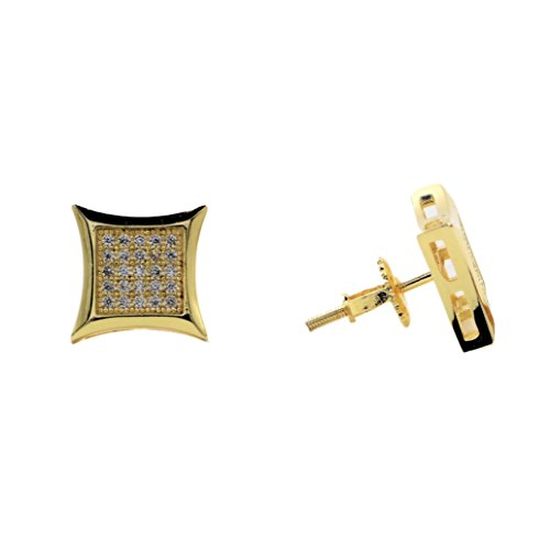 24K Gold Plated Hip Hop Iced Out Flat Earrings With CZ Diamonds and Screw Backs
