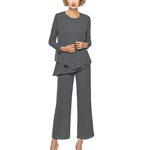 Dressy Evening Suit - Mother of The Bride Pant Suits 3 Piece Outfits Formal Womens Evening Long Sleeve Chiffon Dressy Pantsuits for Weddings(Steel Grey 12)