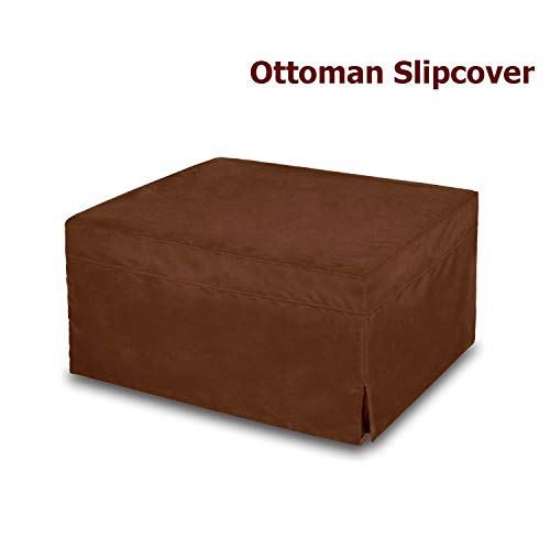 (NOVA_FURNITURE Ottoman Slipcover, Sofa Slipcovers, Protector Covers, Microfiber, Brown)