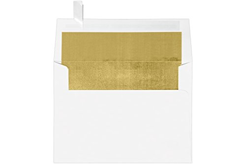A7 Foil Lined Invitation Envelopes w/Peel & Press (5 1/4 x 7 1/4) - White w/Gold LUX Lining (50 Qty.) | Perfect for Invitations, Announcements, Cards, 5x7 Photos, Weddings | 60lb Paper| FLWH4880-04-50 ()