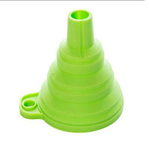 Hemore Folding Silicone Funnel Beautiful and Portable Funnel Mini Kitchen Silicone Collapsible Foldable Funnel Green