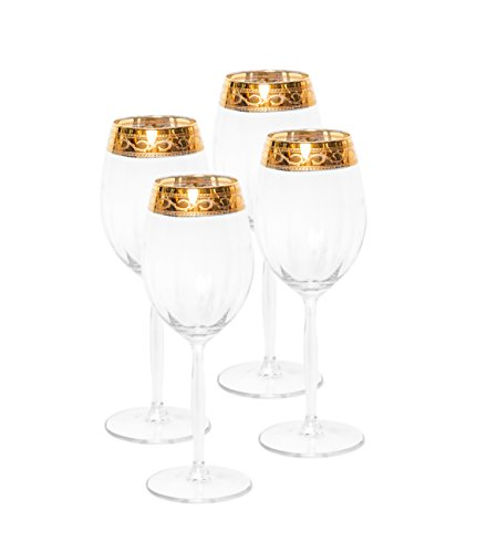 Italian Collection Crystal 12 Oz 'Alessandra' Water Beverage Goblet Glasses, 24K Gold Rim, Vintage Luxury Pattern