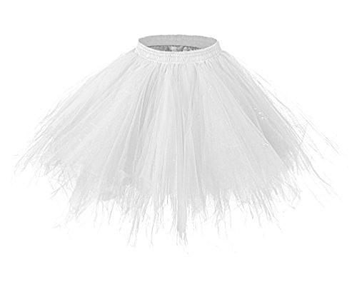 Adult Short White Crinoline (LaceLady Women's 1950s Vintage Short Tutu Petticoat Ballet Bubble Tutu Crinoline White)