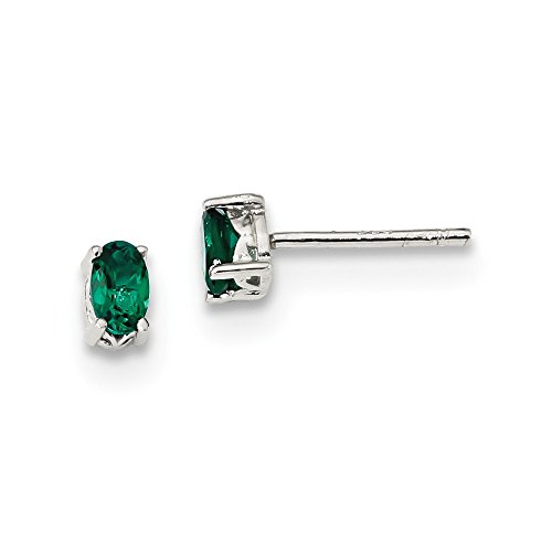 Oval 5x3mm Emerald (Sterling Silver Rhodium-plated 5x3mm Oval Created Emerald Post Earrings)