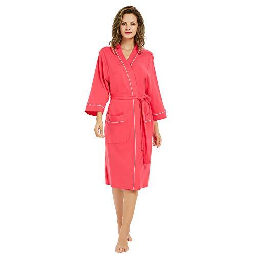M&M Mymoon Womens Cotton Robe Soft Breathable Kimono Robes Knit Bathrobe Loungewear Short Sleepwear Fuchsia