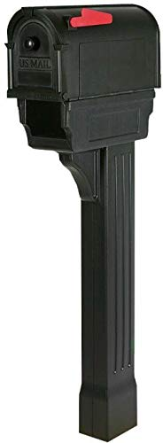 Rungfa Mailbox and Post Combo Kit Plastic Post Mount with Newspaper Holders Black