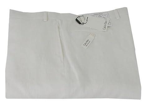 Calvin Klein Mens Flat Front Solid White Linen Dress Pants Size 34