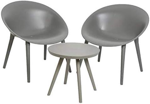 LHéritier Du Temps - Salón de jardín Moderno para 2 Personas, contemporáneo, Mesa de Bar y 2 sillas de PVC, Color Gris: Amazon.es: Jardín