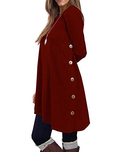 (KORSIS Women's Long Sleeve Round Neck Button Side T Shirts Tunic Dress Wine Red XL)