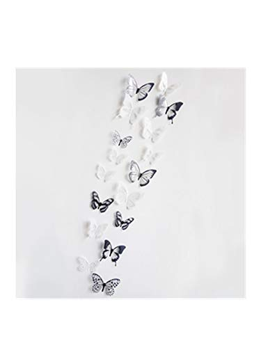 18 Pieces 3D Butterfly Wall Stickers Colorful Christmas Party Home Decoration (Black, 3022mm) ()