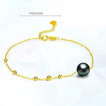 00f12a3f1b75 Fashion Jewelry@ G18K Perla Pulsera de Oro de 18 Quilates con 8-9mm ...