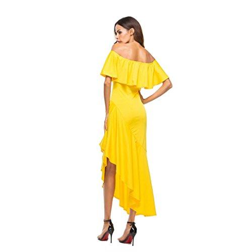 Kleid damen Kolylong® Frauen Elegant Schulterfreies Kleid Lang Vintage Unregelmäßig Rückenfreies Kleid Festlich Kleider Bodycon Party Kleid Cocktailkleid Abendkleid Gelb