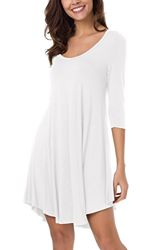 Long 3/4 Sleeve Tee (Urban CoCo Women's 3/4 Sleeve Long Casual Loose T-Shirt Dress (XL, White))