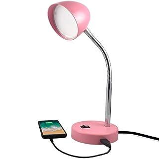 MaxLite LED Desk Lamp with USB Charging Port, Pink Desk Lamp, Adjustable Neck, On/Off Switch, Modern Table Lamp for Reading, Work or School, Warm Gentle Light