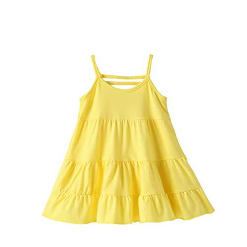 EISHOW Toddler Kids Girls Casual Dress Spaghetti Strap Sleeveless Sling Cotton Summer Beach Tutu Dress Sundress (Yellow, 18-24 Months)