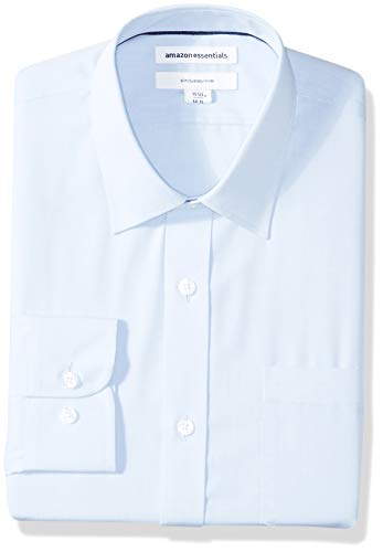 Amazon Essentials Men's Slim-Fit Wrinkle-Resistant Long-Sleeve Dress Shirt, Light Blue, 16