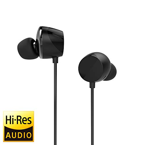 TUNAI Drum Hi-Resolution Audiophile in-Ear Earbud Headphones - Powerful Bass and Lively Sound Stage with Improved Noise Isolation; Comfortable for Workout, Running and Great for Gaming (Shadow Black)