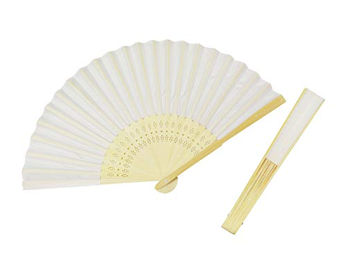 Lauren 30 Pack Folding Fan White Paper Bamboo Fans Handheld Folded Fan for Church Wedding Gift Party Favors for Kid Home DIY Decoration -