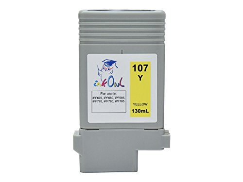 InkOwl - Compatible Ink Cartridge Replacement for CANON PFI-107Y (130ml, yellow) - imagePROGRAF iPF670, iPF680, iPF685, iPF770, iPF780, iPF785 printers